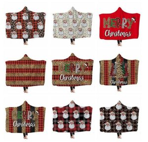 Kids Hooded Blankets 3D Leapard Printed Cape Santa Clause Xams Blanket Washable Warm Bed Velet Fleece Throw Blanket Sea Shipping BWB3214