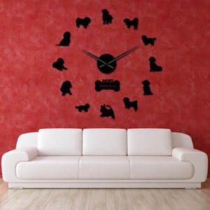 Shih Tzu Dog Oversized DIY Wall Clock Exclusive Mirror Effect Puppy Handmade Laser Cut Wall Watch Self Adhesive Home Decoration 201202