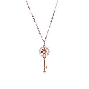 Ожерелье 18K серии золота реальный алмаз Вращающиеся ключ ожерелье ожерелье женщина личности кулон ювелирные ключицы цепи Танабата подарок Necklac