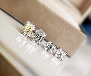 S925 pure silver Luxurious quality stud earring with sparky diamond in square and rectangle shape for women night club wedding jewelry gi