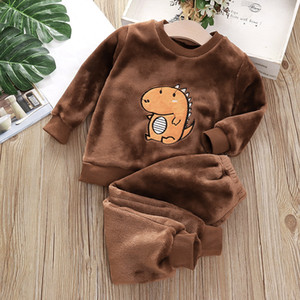 Keaiyouhuo Bebek Kız Ev Hizmet Takım Elbise Bebek Çocuk Giyim Kız Sonbahar Ve Kış Flanel Pijama İki Parçalı Noel Suit 0126