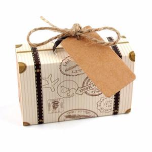 Kofferform Hochzeit Favor Box Süßigkeiten Geschenk Candy Boxes mit Anhänger Party Dekoration Wedding Geschenke Favors Mini GWF3780