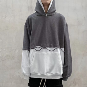 High Street Double Hat Stitching Holes Two Piece Hoodies Mens Oversize Pullover Color Loose Casual Sweatshirt