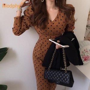 Бесплатной доставка французского стиля Осень Женщина Повседневной Полька Dot печать партия вечер Вельвет платье Eleagnt Lace-Up Тонких моды нового