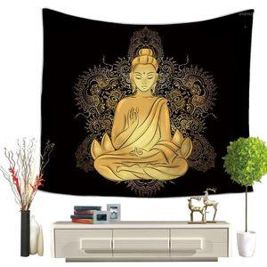 Lychee India Series de Buda Impreso Muro de pared Tapicería Poliéster Manta Art Wall Carpet Home Decorative Tapestry1