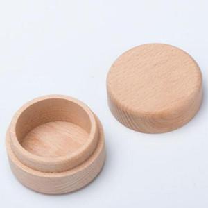 Beech Wood Pequeña caja de almacenamiento redondo Retro Caja de anillo vintage para boda Estuche de joyería de madera natural DWB3309