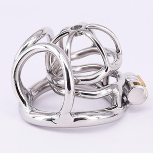 Stainless Steel Male Chastity Cage Small Metal Cockring Arc Testicle Bondage Gear Chastity Devices Balls Locking Ring for Men