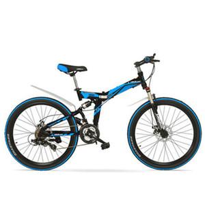 K660m 24/26 인치 접이식 자전거, 잠글 수있는, 풀 서스펜션, 더블 디스크 브레이크, 21 속도 산악 자전거.