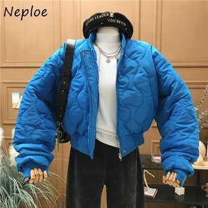 Neploe Colore solido Moda Chic Button Zip Giacche da baseball Nuovo Winter Sloase Parkas 2021 Casual Cappotto di cotone All-Match 1H194