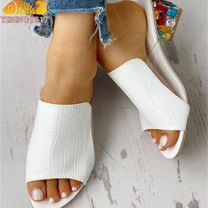 Nausk Woman Sandals Scarpe Pantofole Slippers Steck Style Wedges Pompe Tacchi alti Slip on Bling Fashion Gladiator Scarpe Delle Donne Pompe Y200323