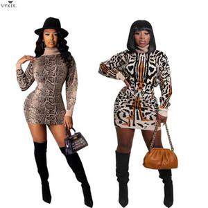 2021 Nuevos Vestidos de leopardo Punto Bodycon Mini vestido Mini vestido Streetwear Turtleneck Ribbed Winter Knit Party Dradies Vestidos