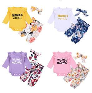 Autumn Kids Clothing Sets Girls Long Sleeved Letter Romper + Floral Pants + Headbands 3Pcs Sets Boutique Infants Baby Outfits
