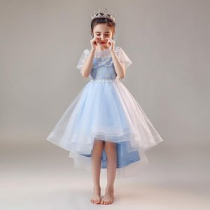 Flower Girl Dresses Tiered Lace Tulle Princess Ball Gown Crystal Embroidery Flowers Pearls Blue Knee-Length Kid Party Dress D173