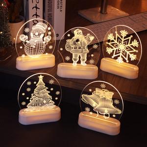Illusione Albero di Natale Babbo Natale 3D luce di notte della lampada LED colorato Alimentazione USB batteria del tasto di tocco regalo decorazione della scatola 60pcs T1I2983