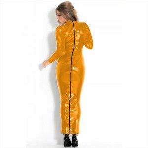17 Colors Long Sleeve Skinny Maxi Dress Women Faux Leather Back Full Zipper Long Dress Glitter Performance Bodycon Clubwear