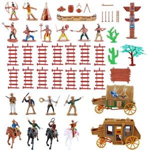 55 pcs / set west Cowboys indiens amérindiens Indiens en plastique Figurine Soldats Jouets Jouets Jouets Accessoires 201201