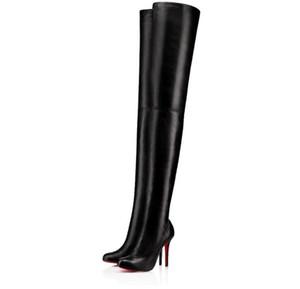 Élégantes marques d'hiver Femmes cuissardes-hautes bottes Louise-xi Chaussures de fond rouge à talons hauts dame bottillons célèbre semelle rouge sur le genou bottes de genou marine mer mercredi