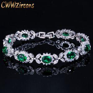 Cwwzirps luxe émeraude vert cristal femme bijoux bijoux chaîne de fleurs bracelet bracelet avec zircone blanc zircone lj201020