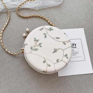 Female Lace Circular Crossbody Bags For Women 2020 PU Leather Handbag Designer Small Ladies Sling Shoulder Messenger Bag