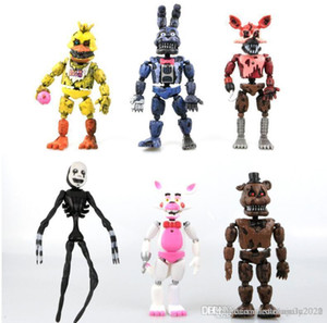 FNAF Five Nights at Freddy's 14.5-17cm Nightmare Freddy Chica Bonnie Funtime Foxy PVC Action Figures model dolls Toys 6pcs Lot kids gif