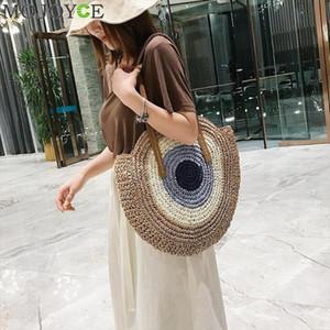 Женская мода ударил цвет соломенные плеча сумки женщин повседневная летняя пляж верхняя ручка сумки большие покупки Tote Bolsa Feminina