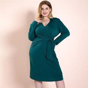 Plus Size Casual Dresses Womens Sexy V Neck Long Sleeve Bandage Dresses Autumn Solid Color Elegant Women Clothes