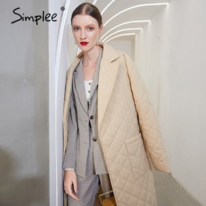 Simplee Long straight winter coat with rhombus pattern Casual sashes women parkas Deep pockets tailored collar stylish outerwear 201123