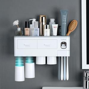 Магнитная адсорбционная инвертированная зубная щетка держатель автоматической зубной пасты Squeezer Диспенсер для хранения стойки для ванной комнаты аксессуары