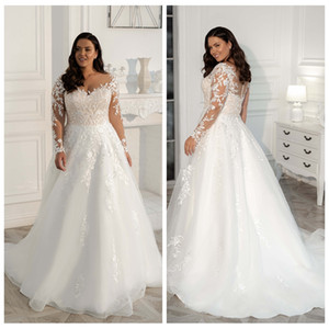 2021 New Long Sleeves Wedding Dresses Plus Size Sheer Neckline Appliqued Organza A-line Bridal Gown Customized