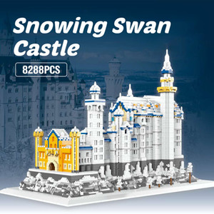 2020 new stock 8828pcs Snowing Swan Stone Castle Building Blocks Famous Architecture Micro Bricks Toys for Kid Christmas Gift J1204