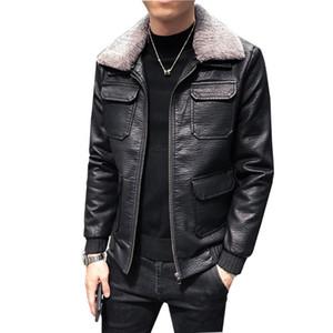 2020 New Korean Style Black Faux Leather Jacket Men Slim Fit Multi-pocket Wool Liner Collar Winter Warm Mens Windbreakers Coat