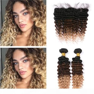 Deep Wave Indian Virgin Hair 3Tone Ombre Wefts 2Bundles with Frontal 1B 4 27 Honey Blonde Ombre 13x4 Lace Frontal Closure with Weaves