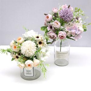 الزهور الاصطناعية 7 الفروع الحرير كاميليا وهمية ديزي ليف الكوبية الزفاف الزهور ديكور الزفاف اليد زهرة JK21021PH