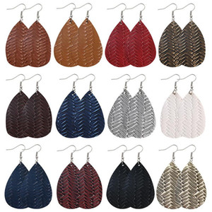 PU Leather Earrings Retro Originality Water Drop Decorative Pattern Weave Fashion Jewelry Women Dangle Ear Pendants Ornaments