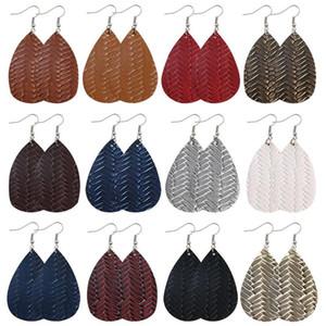 PU Leather Earrings Retro Originality Water Drop Decorative Pattern Weave Fashion Jewelry Women Dangle Ear Pendants Ornaments