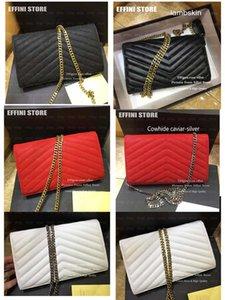Caviar Crossbody bolso de las mujeres de moda hombro del cuero genuino alta calidad del bolso monedero de los bolsos de mano Negro cadena del embrague Cross Body Bag mayorista
