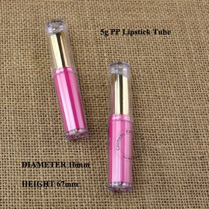 wholesale 100pcs lot 5g PP Empty Red Refillable Lipstick Bottle 1 2OZ Container Tube Plastic Lip Balm Gloss Sub-bottling