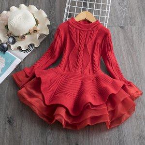 Вязаное свитер платье для девочек осень зимняя рубашка ребристый с длинным рукавом дети партия костюм повседневная одежда принцесса рождественское платье