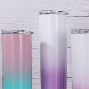 Copos de água de aço inoxidável copos de moda gradientes vácuo canecas portáteis 20oz reto tumblers criativos de selagem forte Venda quente 19SSH F2