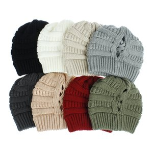 solid color knitted hats cross horsetail hat outdoor sports running wool crochet cap for big girls women