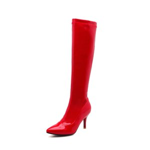 Hot Sale-New fashionable ladies knee pointed high heels sexy runway big-size 32-43 boots