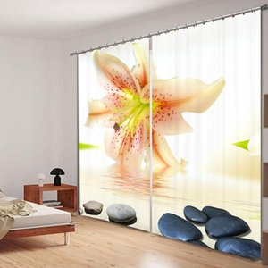 Flower and Stone Window Curtains Decorative for Bedding Room 3D Curtain Hotel Elegant Blackout Curtains Washable Thick Material