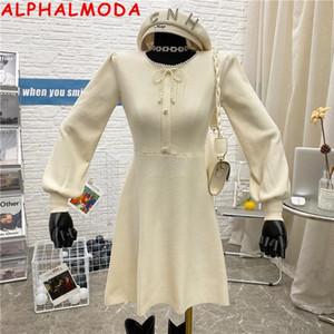 ALPHALMODA 2020 Herbst neue wulstige Kragen Langarm-A-Linie Strickkleid Solid Color langärmeligen Frauen elegantes Kleid