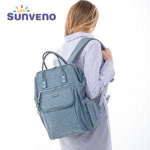 Sunveno Diaper Bag Backpack Large Capacity Waterproof Nappy Bag Kits Mummy Maternity Travel Backpack Nursing Handbag LJ201013