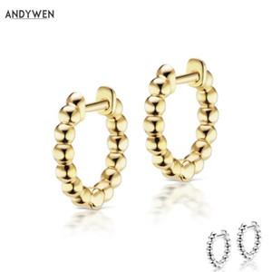 ANDYWEN 925 Sterlingsilber Mittel Huggies Band-Ohrring Clip Runde Ring Mode Frauen 2020 Mini Loops Schmuck bestes Geschenk