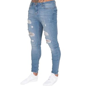 Sexy Hole Sknny Jeans Men Slim Bodycon Trousers Denim Pants Homme Long Casual Pants Ripped Jeans Men Clothing