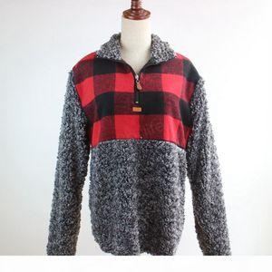 Women Patchwork Pullover Long Sleeve Zipper Sherpa pullover Sweatshirt Soft Fleece plaid Outwear with Pockets Tops Hoodie coat LJJA2891
