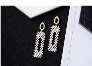 2020 The new sweet geometric rectangular pearl long big stud party evening dress is suitable 386
