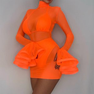 JillPeri Orange Flare Long Sleeve Mesh 3 Piece Set Sexy Women Party Bodycon Club Dresses