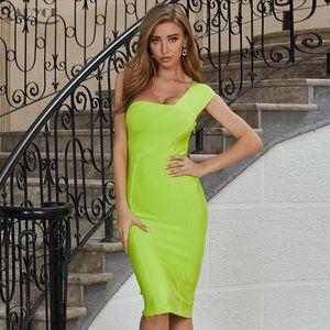 2020 New Summer One Shoulder Women Bandage Dress Sexy Sleeveless Bodycon Club Dress Vestidos Celebrity Evening Party